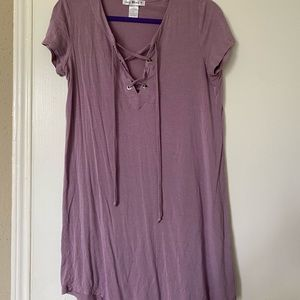 Purple T-Shirt Dress with Lace-Up Front